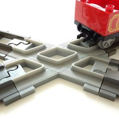 Download 3D printing templates Duplo 6376 train track crossing 60 degrees, markosaurus