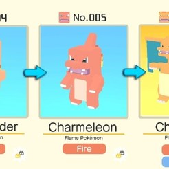 3D print files CHARMANDER AND ITS EVOLUTIONS IN 8-BITS, luis_torres012