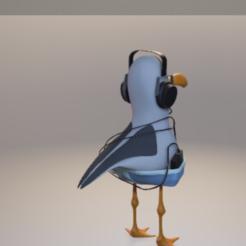 mouette 4.png Télécharger fichier STL Mouette avec casque • Design pour impression 3D, jojoilo