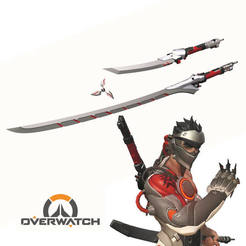 Sin título-2.jpg Download STL file Overwatch Genji Blackwatch Weapons • 3D printer model, ArtViche