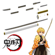 Télécharger STL Katana de Zenitsu Agatsuma de Kimetsu no yaiba / Demon Slayer, bohemianwolf