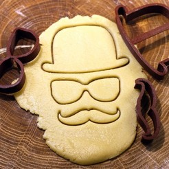 01.jpg Download OBJ file Set hat glasses mustache cookie cutter for professional • 3D printable object, gleblubin