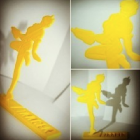 Free STL Overwatch - Tracer silhouette stand, CaiquedeAndrade