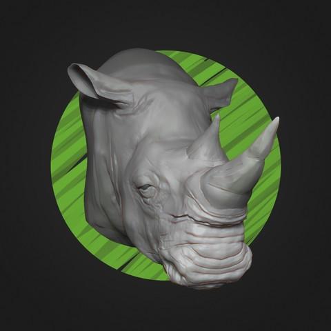 Free 3D printer files White Rhino Head - High Poly, ricardo-jfa