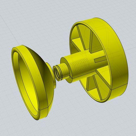 Objet 3D gratuit Poignée de verrouillage de tête de trépied de bol de 75 mm, vintage-lens
