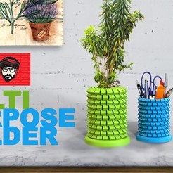 Free stl files Multi-Purpose Holder/Planter Design, 3DGuyDubai