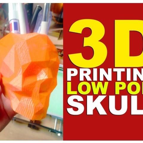Free 3d printer model Lowpoly Skull Penholder, 3DGuyDubai