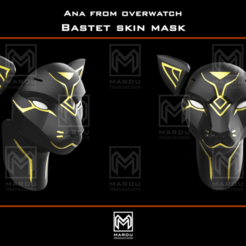 Download 3D printing designs Ana's Bastet mask (Overwatch), MarduProductions