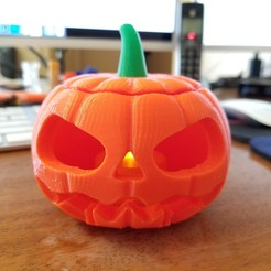 20180913_102021.jpg Download free STL file Jack-o'-lantern Pumpkin with separate stem • Object to 3D print, eight_heads