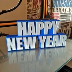 Free 3D print files Happy New Year Sign, Bugman_140