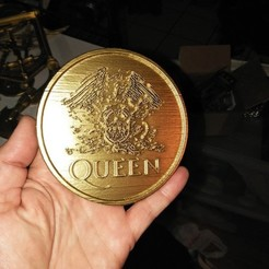 Free 3D printer model BAND LOGO - QUEEN COIN, A_SKEWED_VIEW_3D