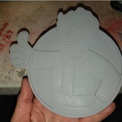 Download free 3D printer files FALLOUTs VAULT BOY EMBLEM, A_SKEWED_VIEW_3D