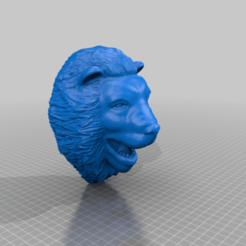 Lions_Head_Wall_Mount.png Download free STL file Lions Head Display - wall mount • 3D printable template, A_SKEWED_VIEW_3D