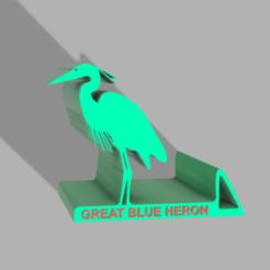BLUE HERON HOLDER 1.png Download free STL file Blue Heron Mobile Holder • 3D printing model, admis