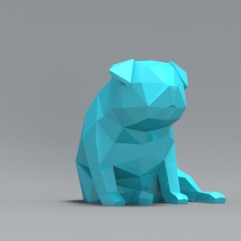 pp04.jpg Download OBJ file Low Polygon Pug dog model 3D print model • 3D printing model, zebracan