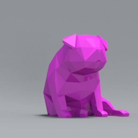 pp05.jpg Download OBJ file Low Polygon Pug dog model 3D print model • 3D printing model, zebracan