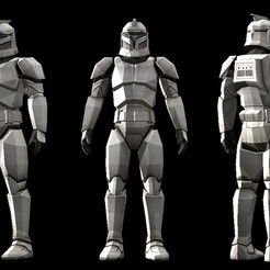 Download 3D printer files Low polygon star wars Clone trooper model, zebracan