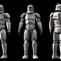 3D print files Low polygon star wars Clone trooper model, zebracan