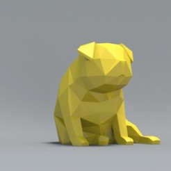 3D print files Low Polygon Pug dog model 3D print model, zebracan
