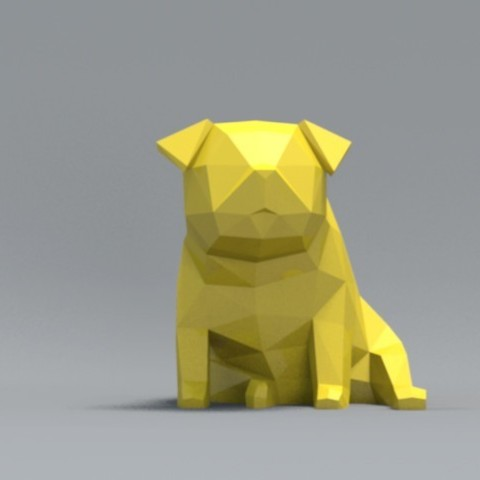 pp06.jpg Download OBJ file Low Polygon Pug dog model 3D print model • 3D printing model, zebracan