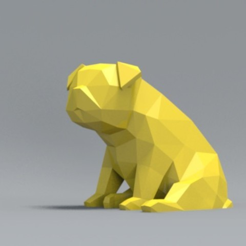 pp01.jpg Download OBJ file Low Polygon Pug dog model 3D print model • 3D printing model, zebracan
