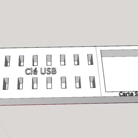 fichier impression 3d socle pour cl usb x16 avec rangement carte sd cults. Black Bedroom Furniture Sets. Home Design Ideas