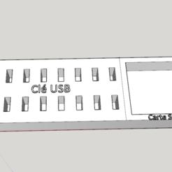 Imprimir en 3D gratis Base de unidad flash USB (x16) con almacenamiento de tarjeta SD, POSEIDON35