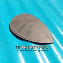 Teardrop-Pick-emulas.png Télécharger fichier STL Aiguille de guitare en forme de goutte d'eau • Plan pour imprimante 3D, eMulas