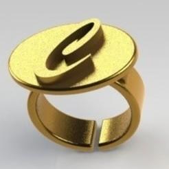 stl files Ring letter C, nldise