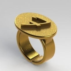 Anillo F.JPG Download STL file Ring letter F • 3D print template, nldise