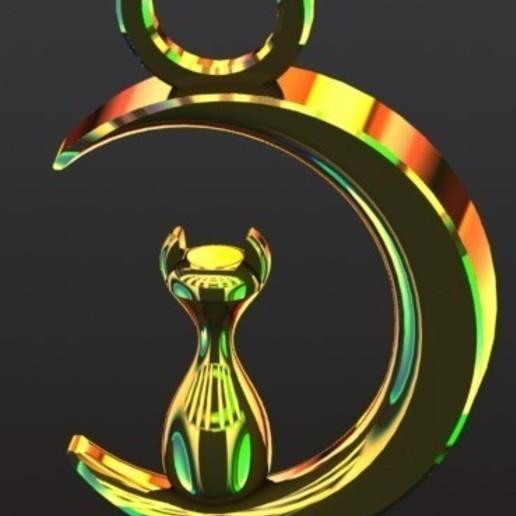 Luna 2.JPG Download free STL file Moon and cat necklace • 3D printer design, ErvinOsvaldoGonzlezTovar