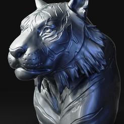 Tiger (2).jpg Télécharger fichier OBJ Tête de tigre numéro 03 • Objet imprimable en 3D, Dynastinae