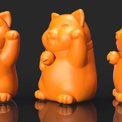 N2.jpg Download OBJ file MANEKI NEKO • 3D print template, Dynastinae
