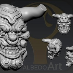 4.jpg Download OBJ file Oni Yokai 2 • 3D printing object, Dynastinae