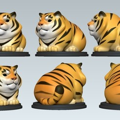 05.jpg Download OBJ file Tiger Cartoon Cute • 3D printable object, Dynastinae