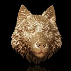 W (2).jpg Download OBJ file Wolf Head • 3D print template, Dynastinae