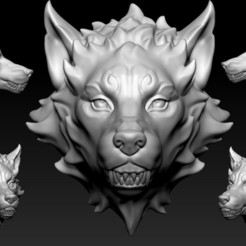 Download OBJ file Wolf Head • 3D print template, Albedo