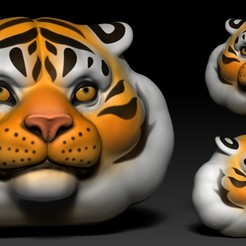 00.jpg Download free OBJ file Tiger Head Cartoon • 3D printing design, Dynastinae