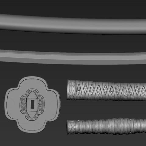 ZBrush Document09.jpg Download free STL file katana 01 • 3D printable template, Dynastinae