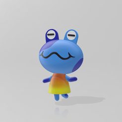 Jeremiah front view.png Download 3MF file Full Color 3D Print Model Jeremiah Frog Villiager of Animal Crossing New Horizons • Template to 3D print, michaeledi