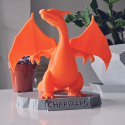 3D printing 3D model Pokemon STL file Charizard Statue_with_Stand1.png Download free STL file Charizard Statue with Stand • 3D printer object, R3DPrinting