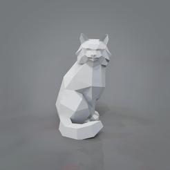 Télécharger fichier 3D Chat assis de Low Poly, vitascky