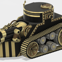 STL file Steampunk Tank | Tri-Cannon | (.STL file), MF3D
