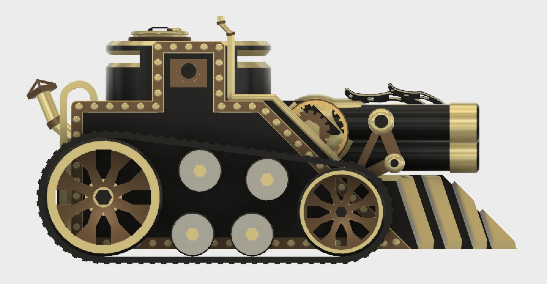 Tritank7.PNG Download STL file Steampunk Tank | Tri-Cannon | (.STL file) • Design to 3D print, MF3D