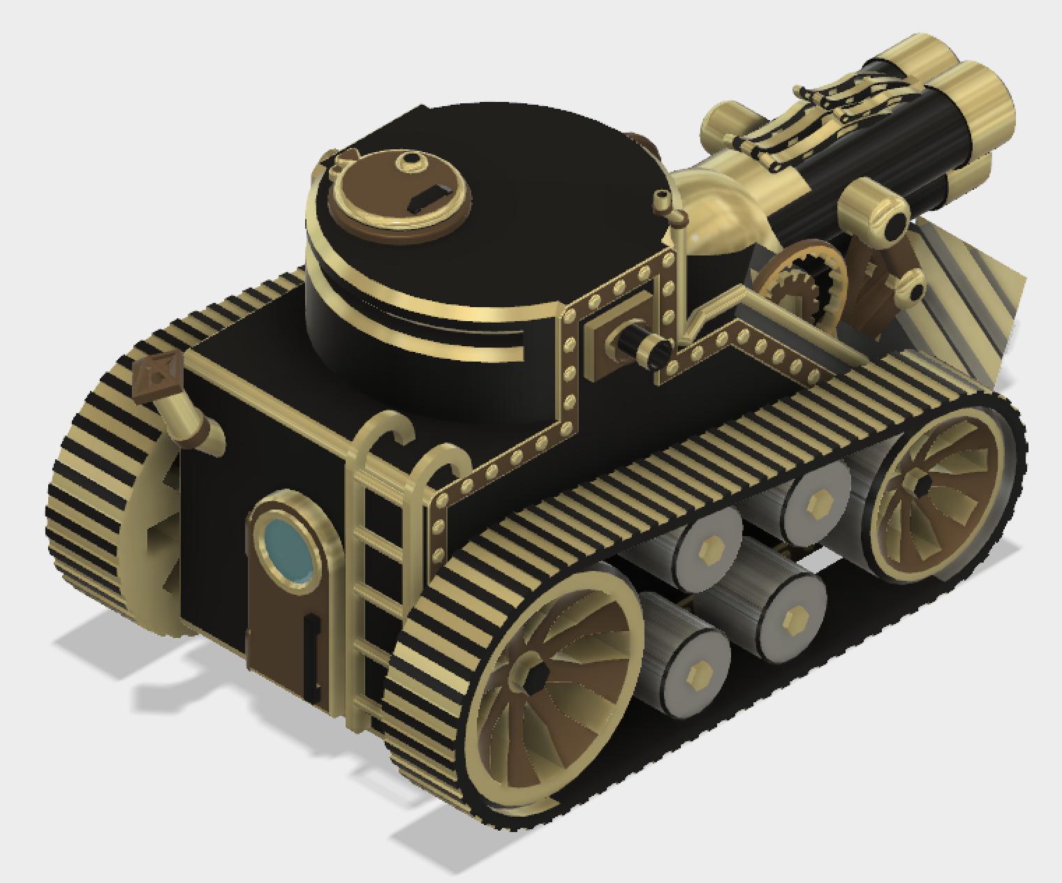 TriTank4.PNG Download STL file Steampunk Tank | Tri-Cannon | (.STL file) • Design to 3D print, MF3D