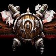 STL Warcraft 3 Orc Shield. For The Horde. World of Warcraft. Shield and Axes. Orc Sigil., MF3D