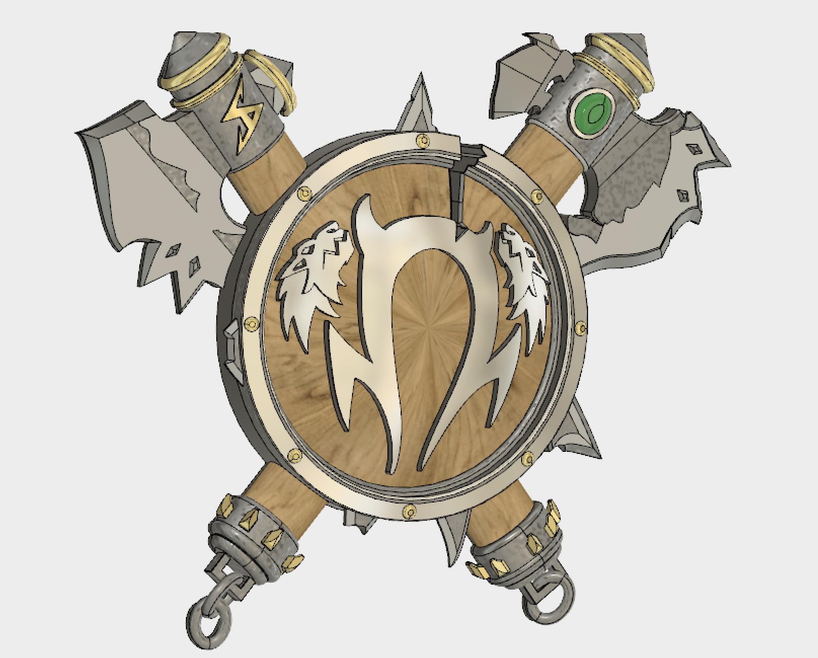 Telecharger Fichier Stl Warcraft 3 Bouclier Orque Pour La Horde World Of Warcraft Bouclier Et Axes Orc Sigil Plan A Imprimer En 3d Cults