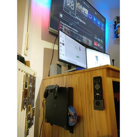 Descargar archivos STL gratis Soporte de pared para PlayStation 4 (PS4) Slim, kleinerELM