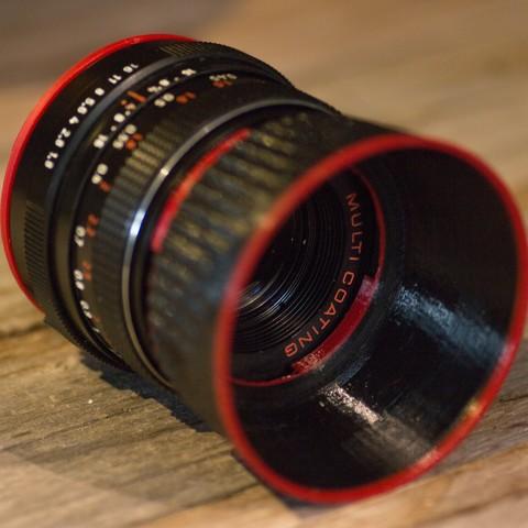Free 3D printer model Lens hood for a 49 mm filter mount (Pentacon 1.8 / 50 mm), kleinerELM