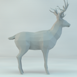 Download free 3D printing templates low poly deer, Mounah